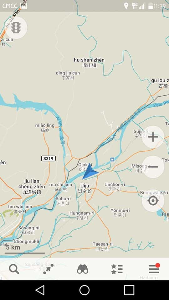 A Screenshot From A Map App Showing Our Author Had Entered North Korea from Dandong