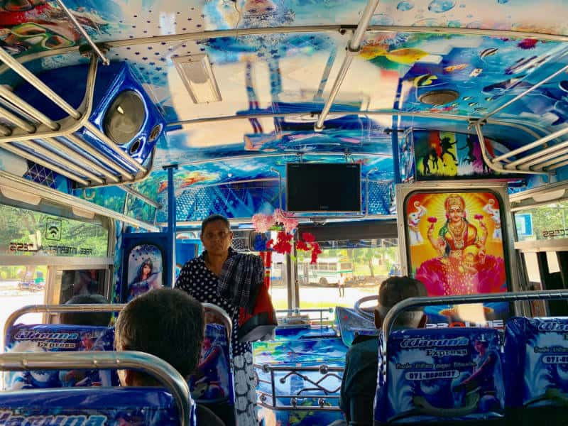 The Colourful Interior of a Bus in Sri Lanka