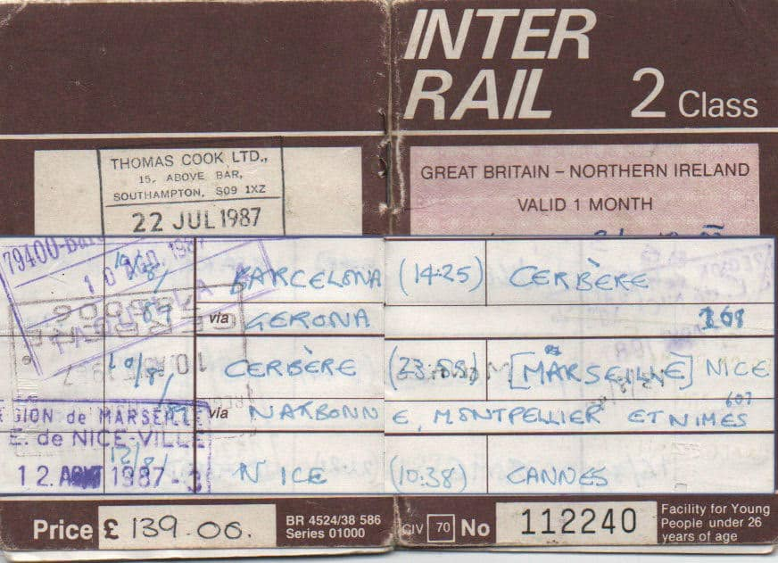 Ali's Inter Rail Card from the 90s