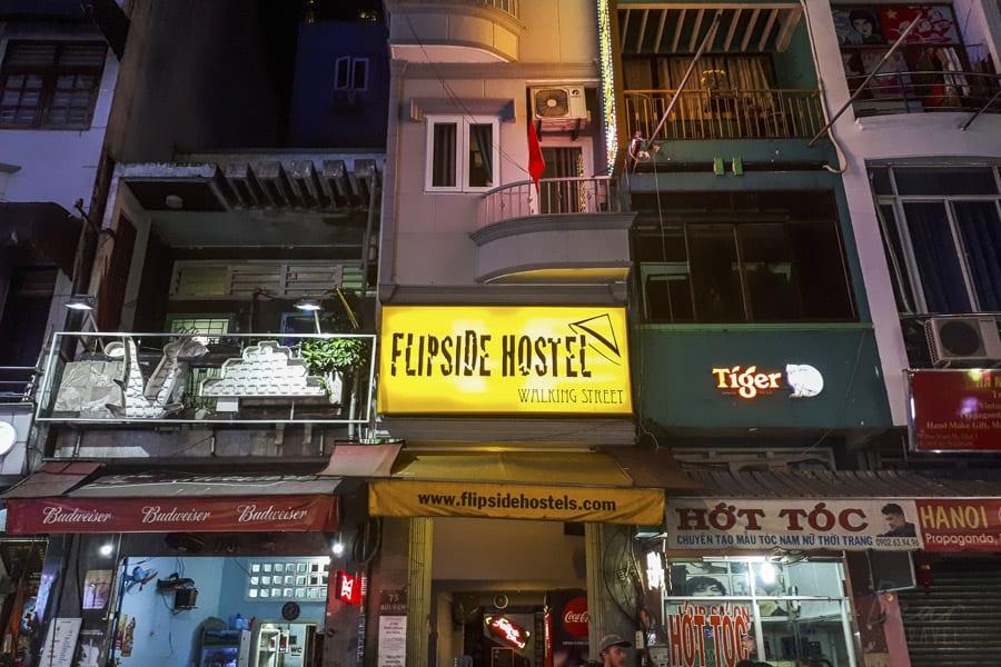 The Front of Flipside Hostel Bui Vien Walking Street