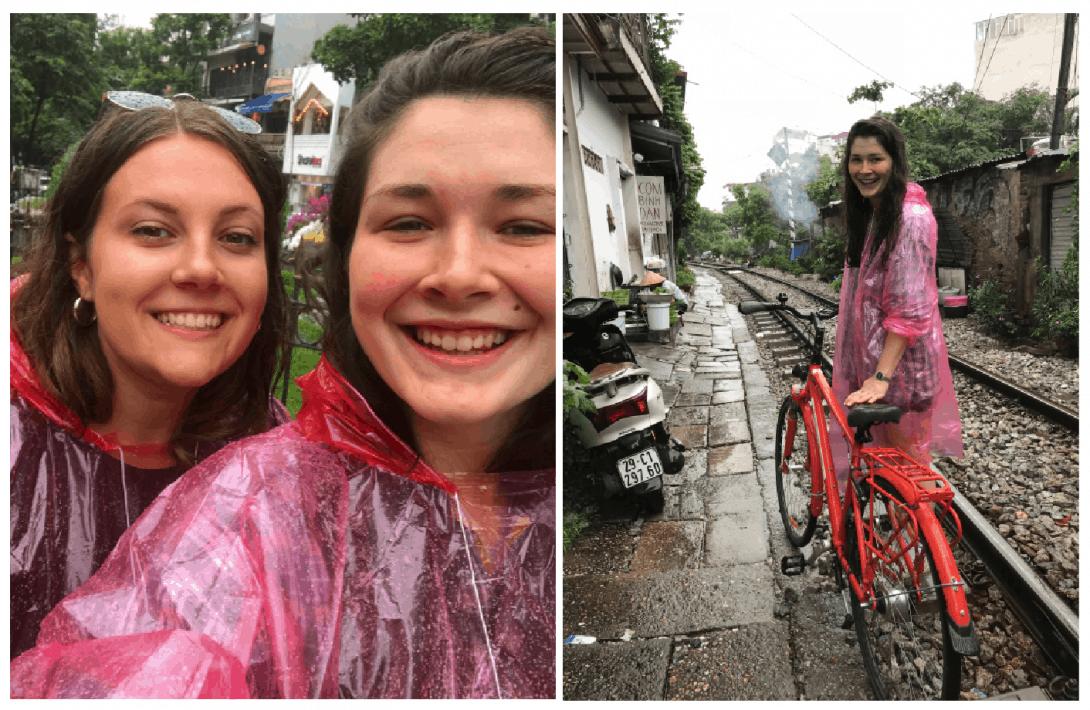 Riding in the rain on the Hanoi Bike Tour.