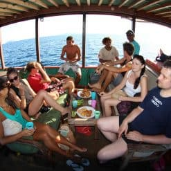 Travellers Eating Lunch Whilst out Diving Around Komodo National Park