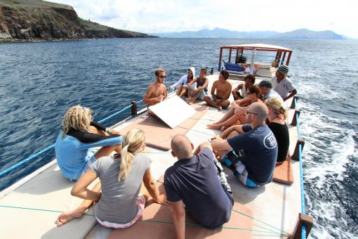A Group of Travellers Sits on the Sun Deck on a Komodo Diving Center Boat