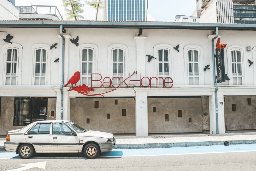 The Front of BackHome Hostel, Kuala Lumpur, Malaysia.