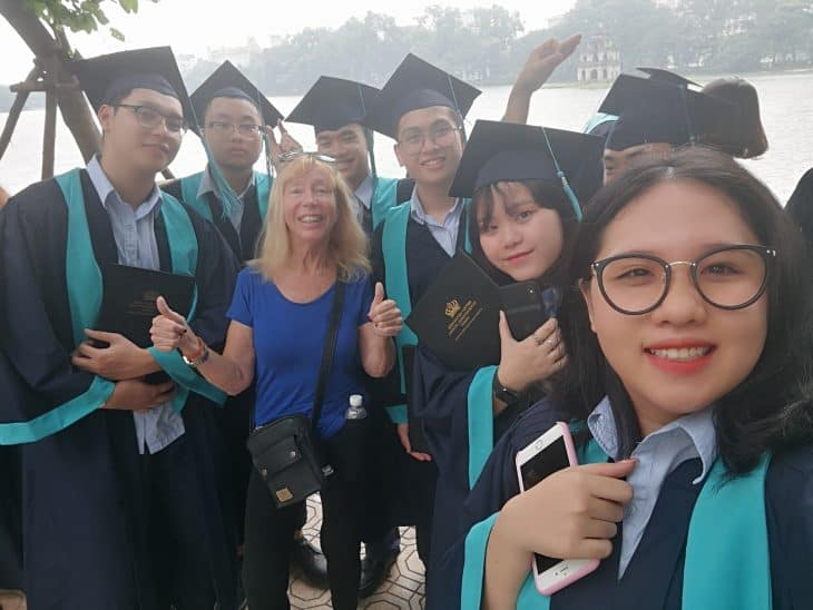 Geraldine with graduates