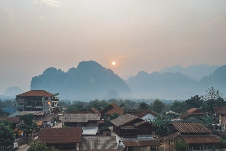 Vang Vieng Sunset View Over Town and Mountains