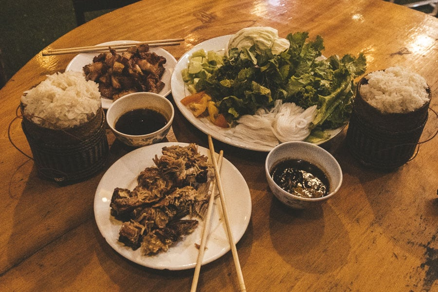 Local Laotian food at Chantheo's Restaurant, Vang Vieng.