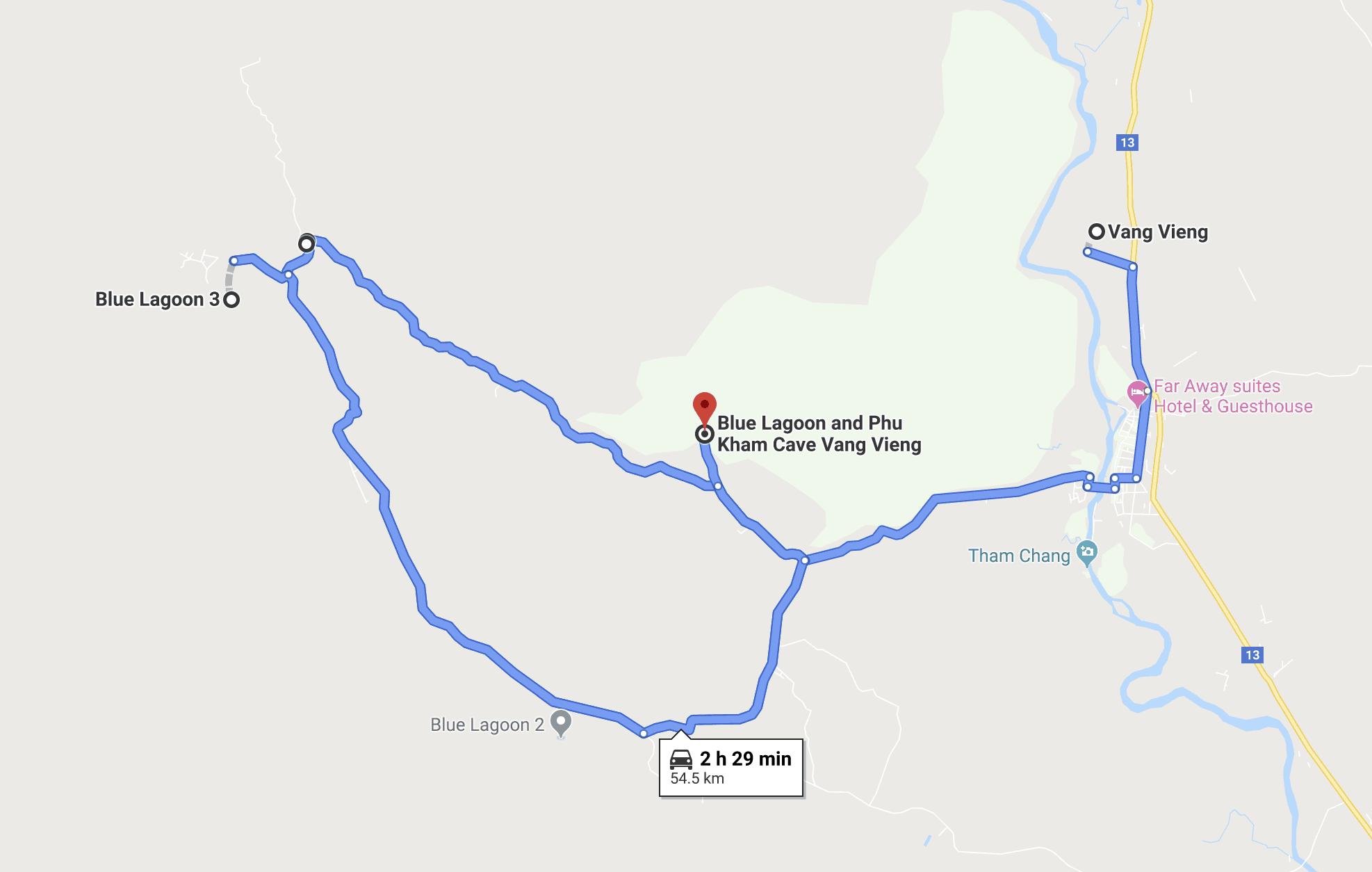 Map of the Small Motorbike Loop - Vang Vieng, Laos.