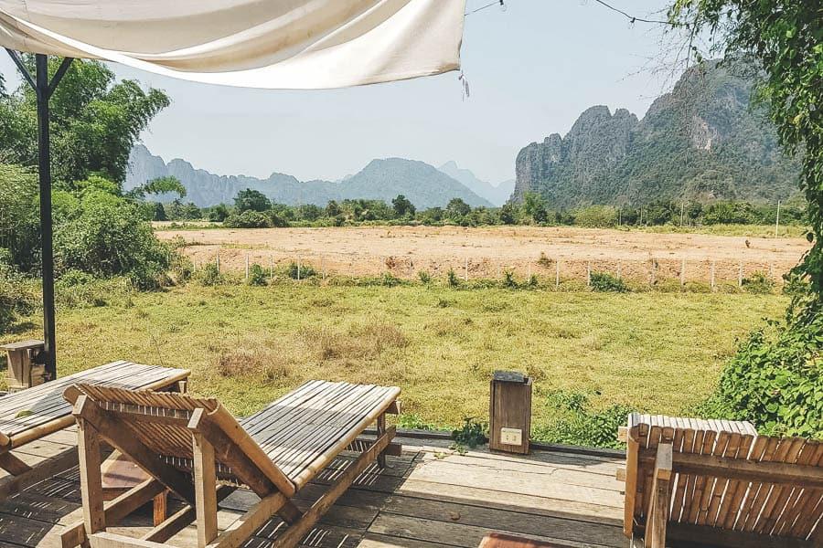 The Vang Vieng countryside around Magic Monkey Garden, Laos.
