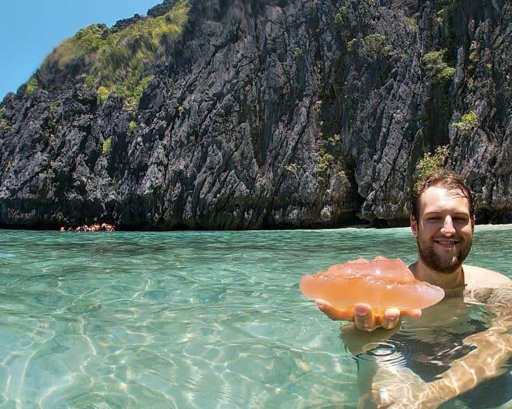 Man holding a jellyfish