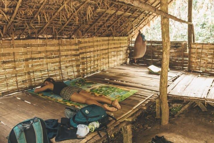 Girl sleeps in jungle house