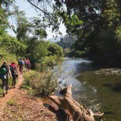 People trekking next to river