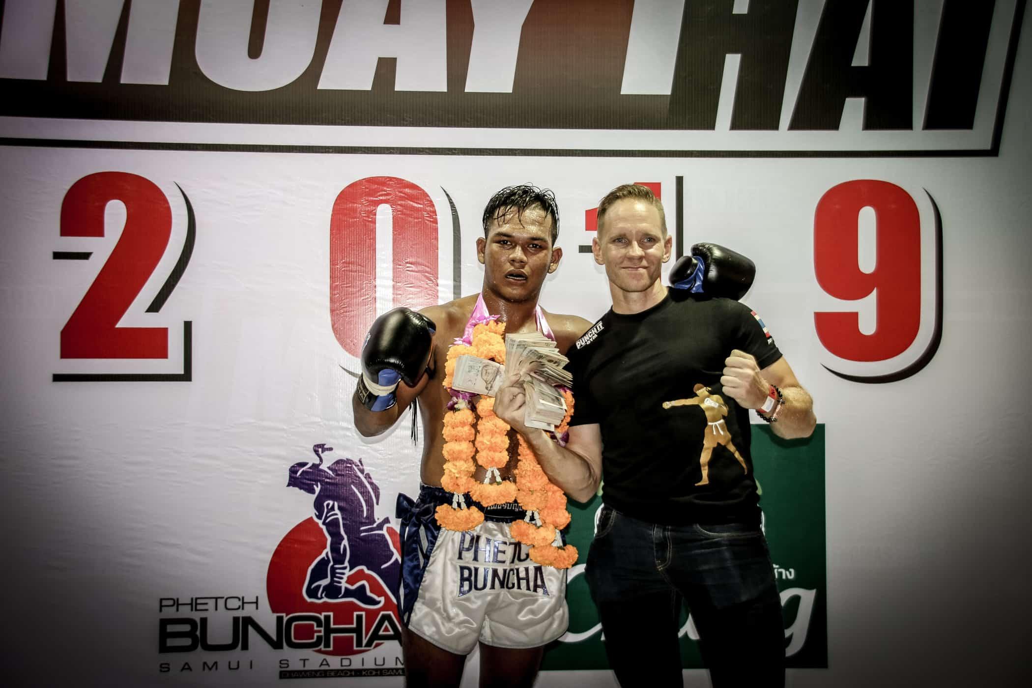 Markus and Punch It Gym Trainer at Phetch Buncha Stadium Koh Samui