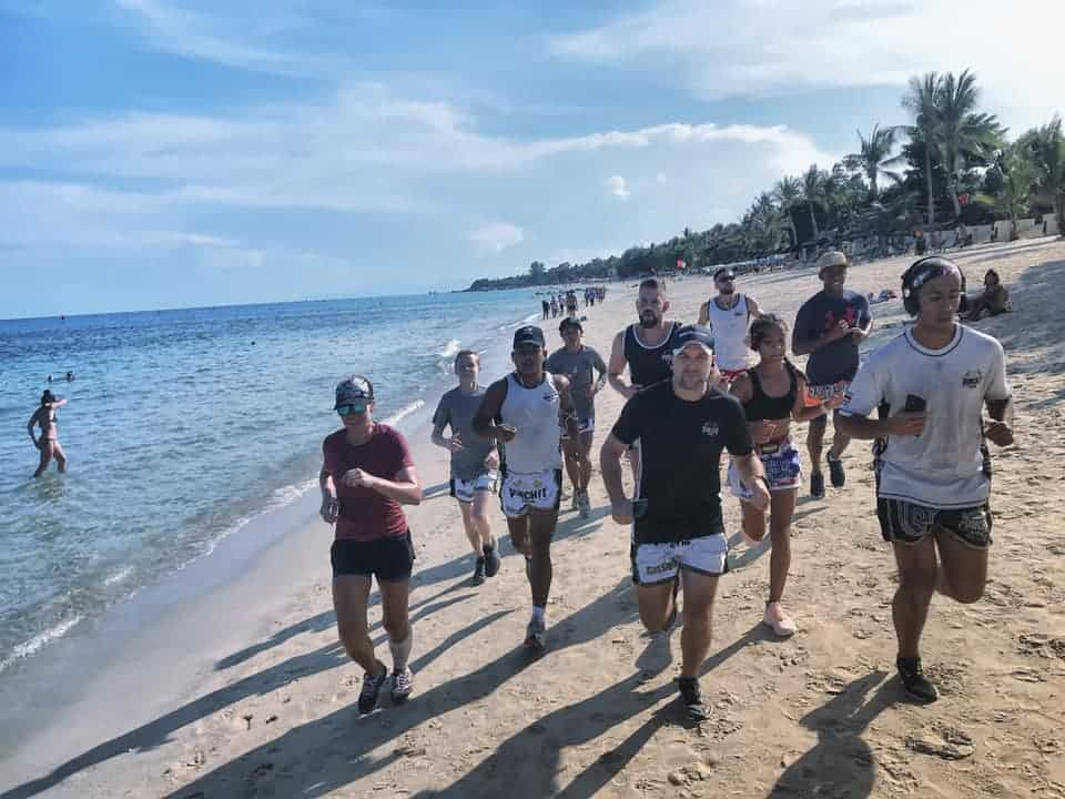 Morning jogging on the beach in Koh Samui