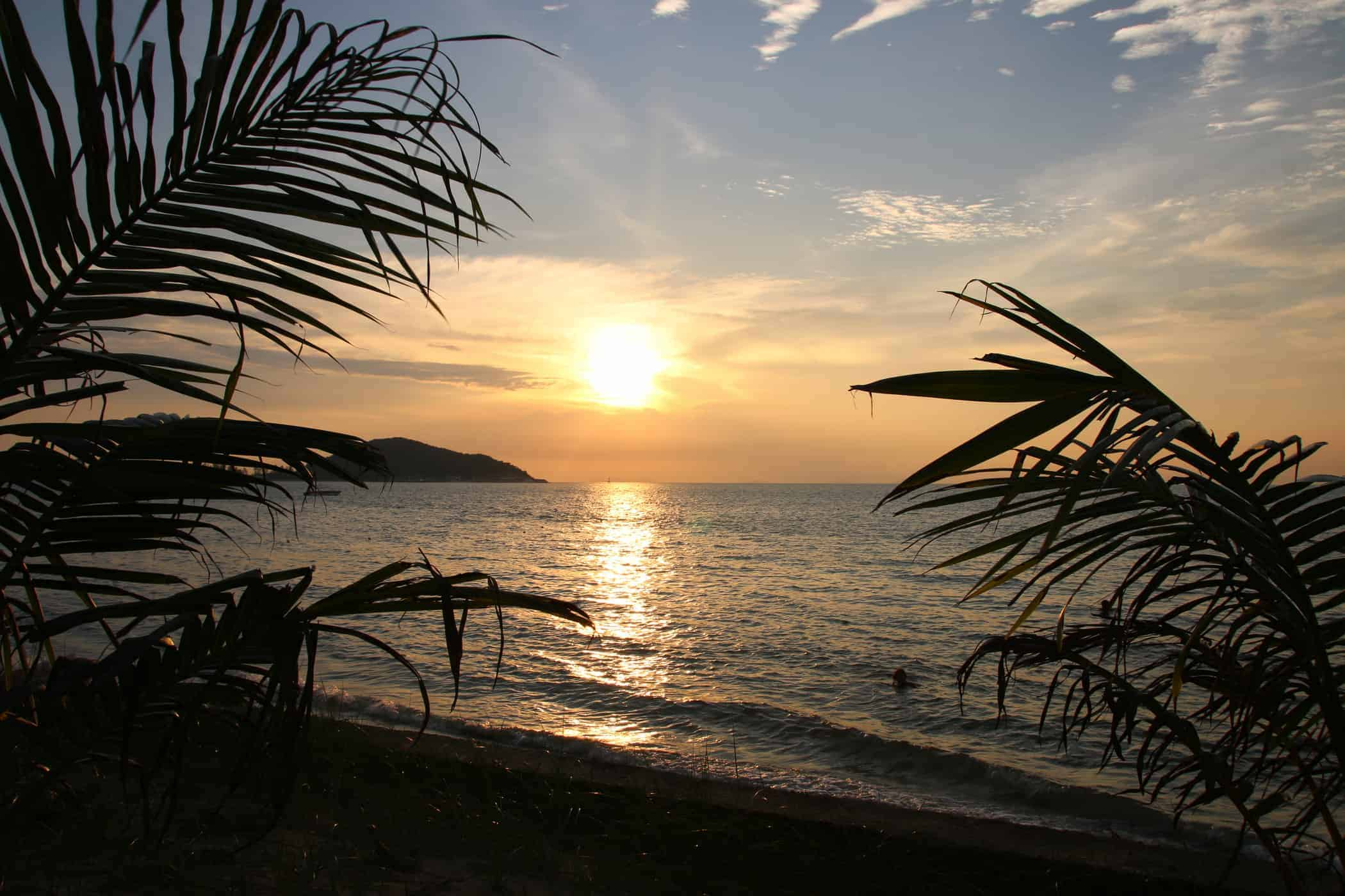 Sunset over the beach in Koh Samui.