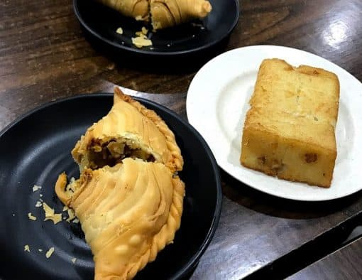 Curry puff and carrot cake
