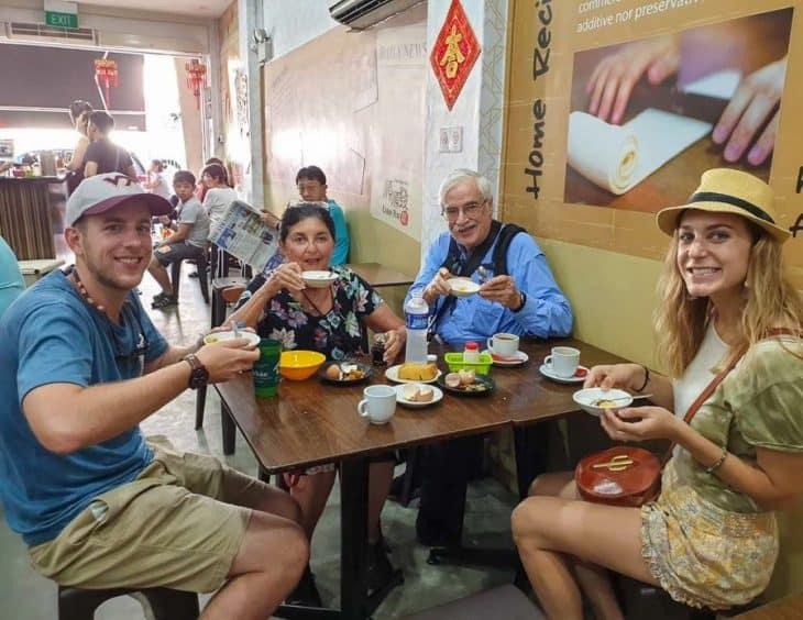 People smiling in restaurant
