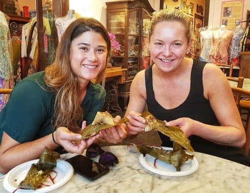 Girls eating together in restaurant