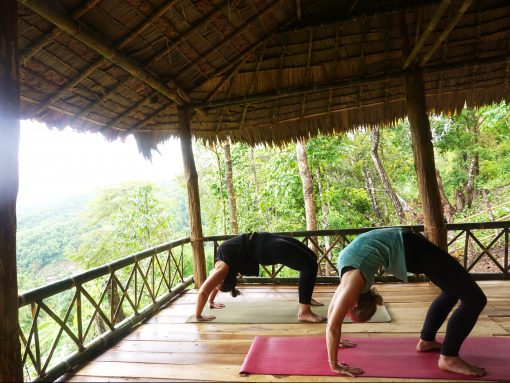 Two People Practise Yoga at Never Forget Elephant Foundation