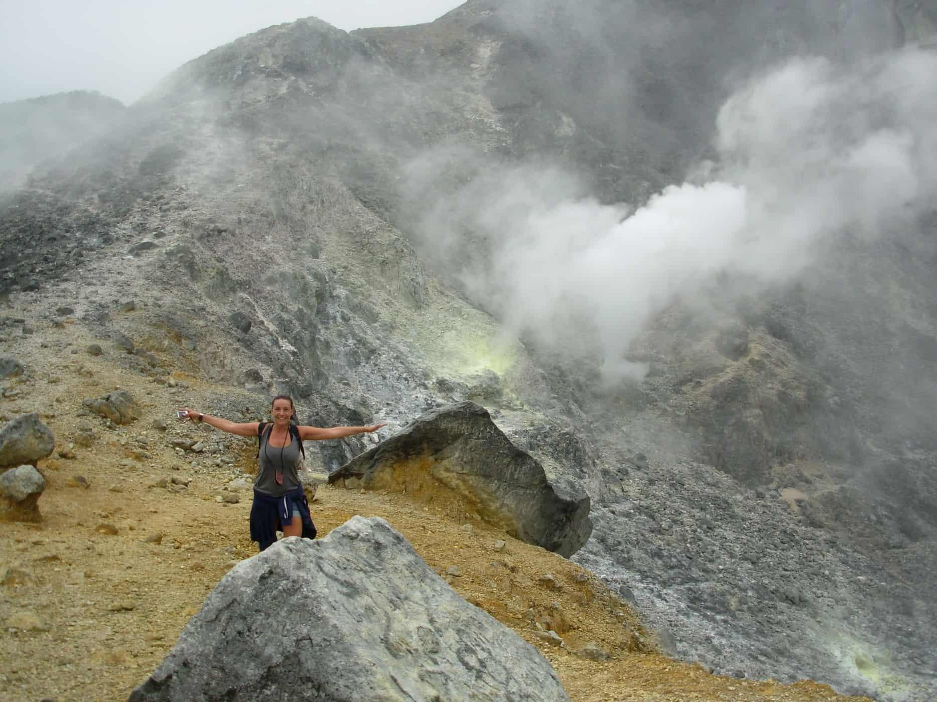 At the crater of Gunung Sibayak Berestagi, Sumatra.
