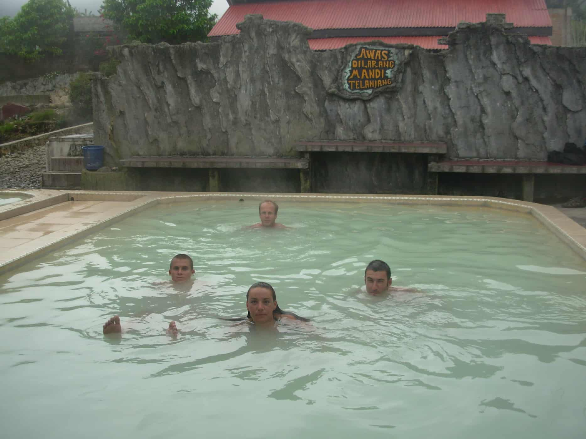 Soaking in the hot springs in Berestagi, Sumatra.