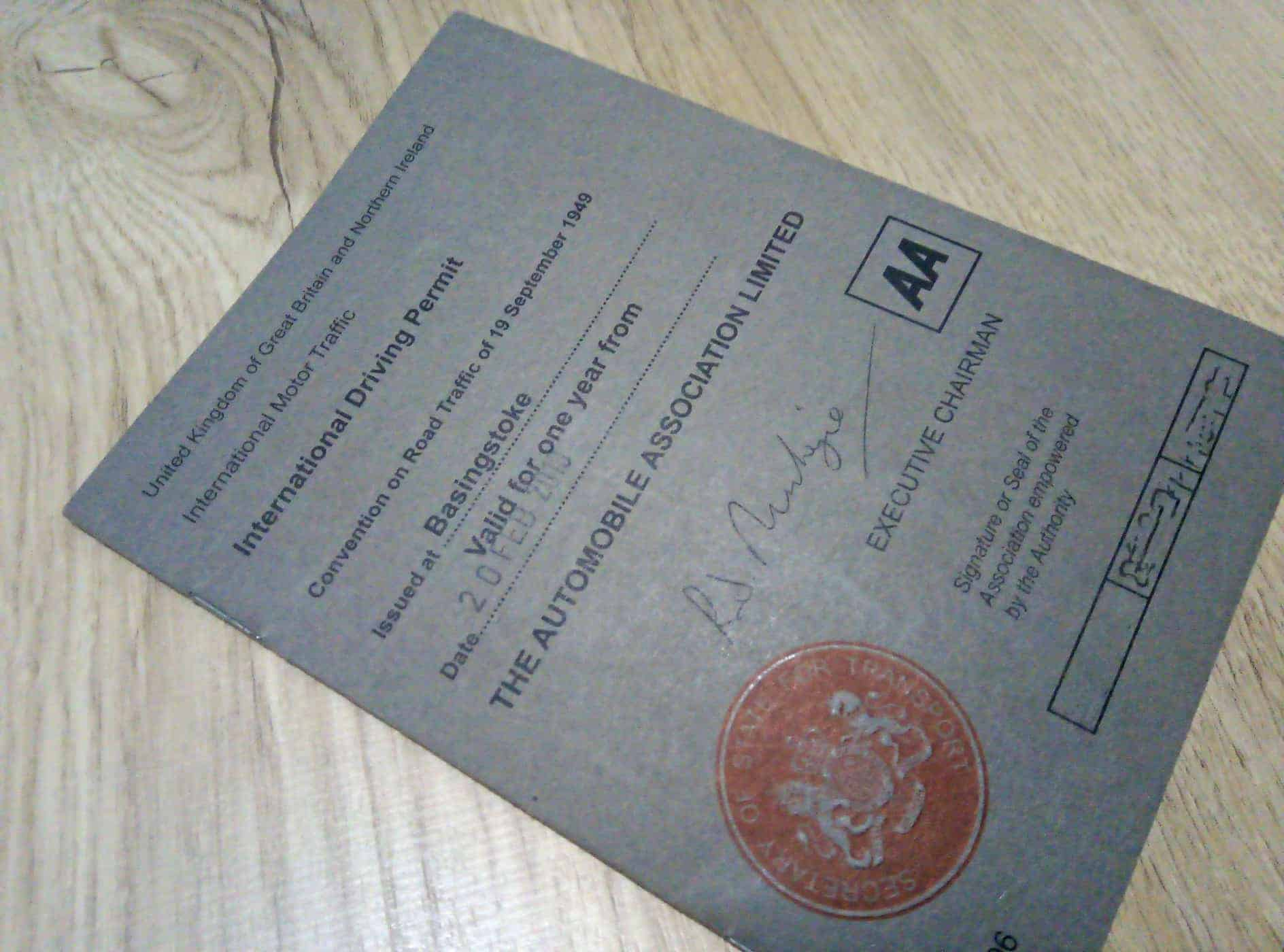 An International Driving Permit from the UK.
