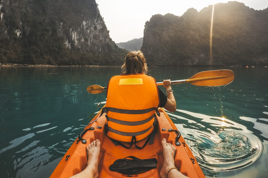 Kayaking in Lan Ha Bay, Vietnam.