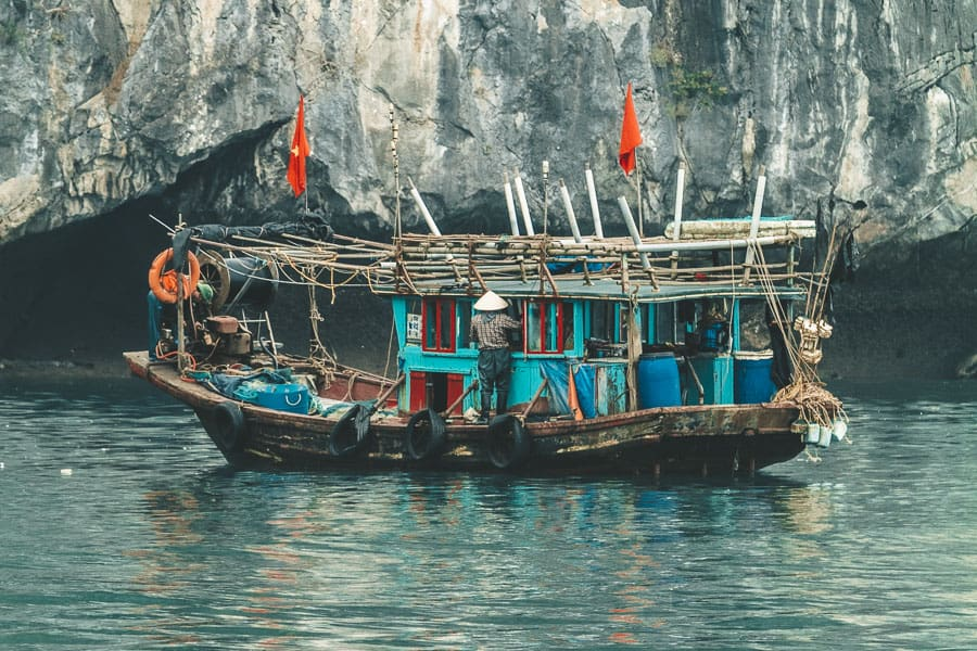 Local Vietnamese Fishing Boat in Lan Ha Bay