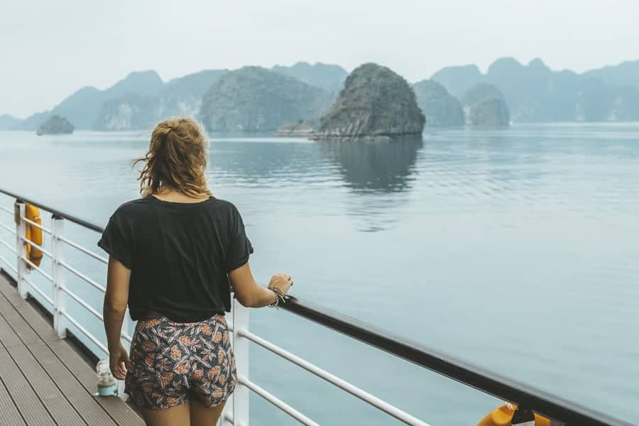 Ellie on the deck of a cruise ship in Lan Ha Bay, Vietnam.