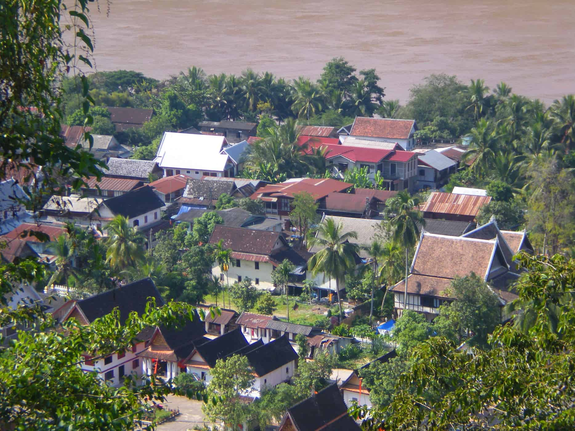 Aerial views of Luang Prabang, Laos.
