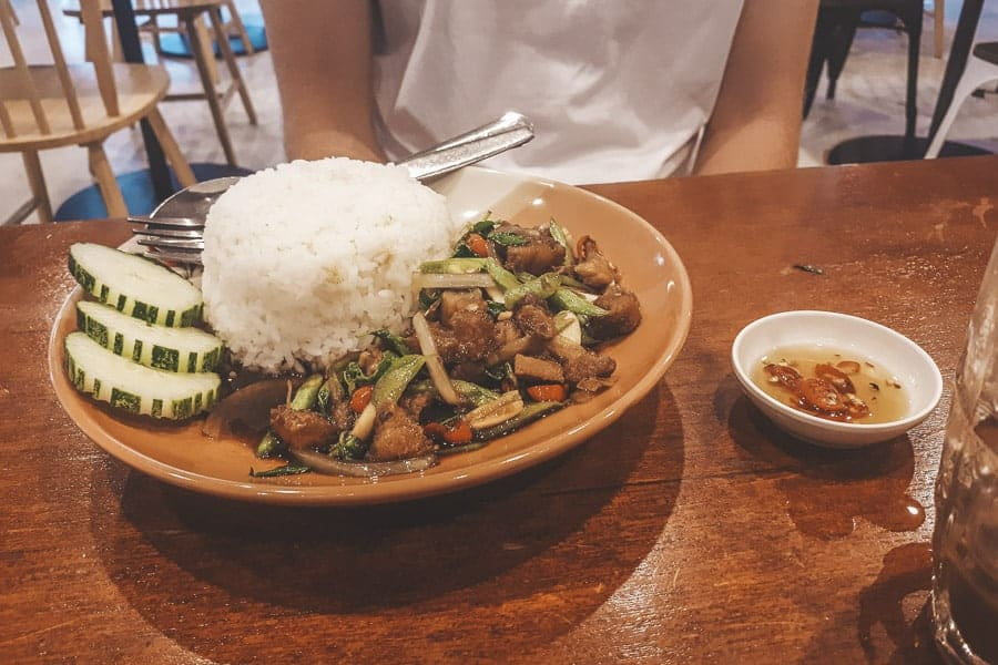 Pork with Holy Basil in Friendship Mall, Pakse, Laos