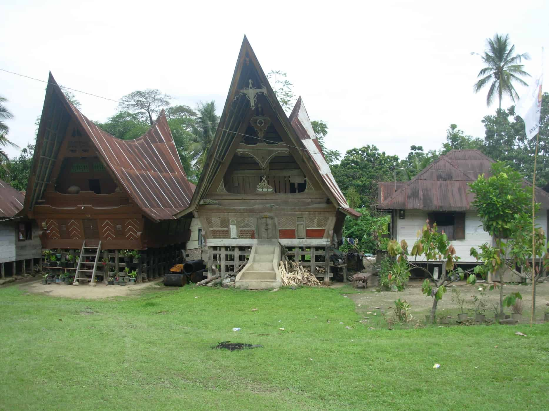 The boat-shaped houses of Pulau Samosir, Sumatra. Homes to the 'Batak' people.