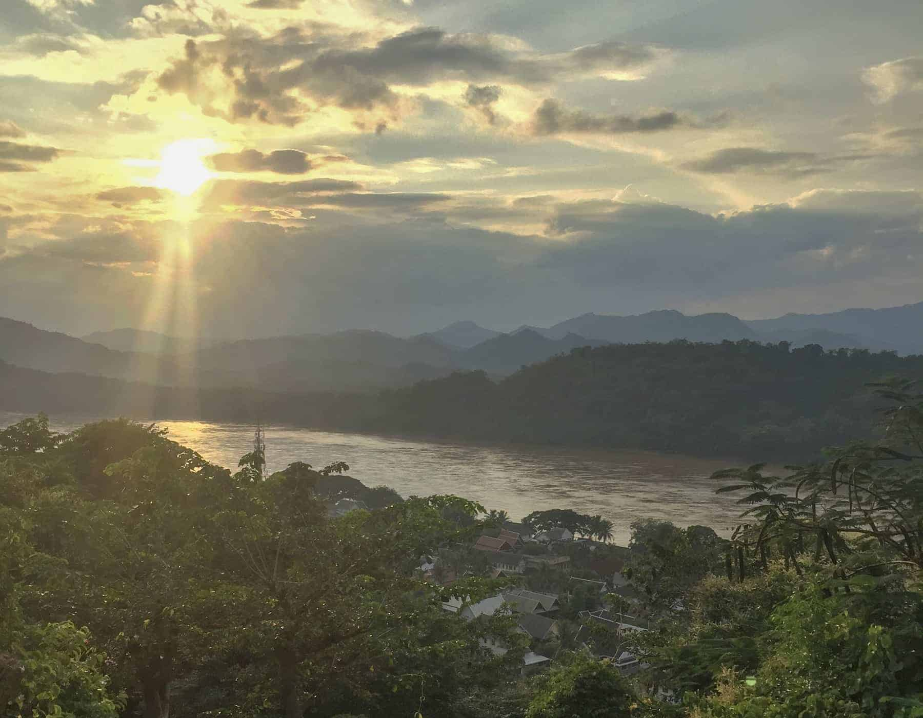 Views from Mount Phousi at sunset, Luang Prabang, Laos.
