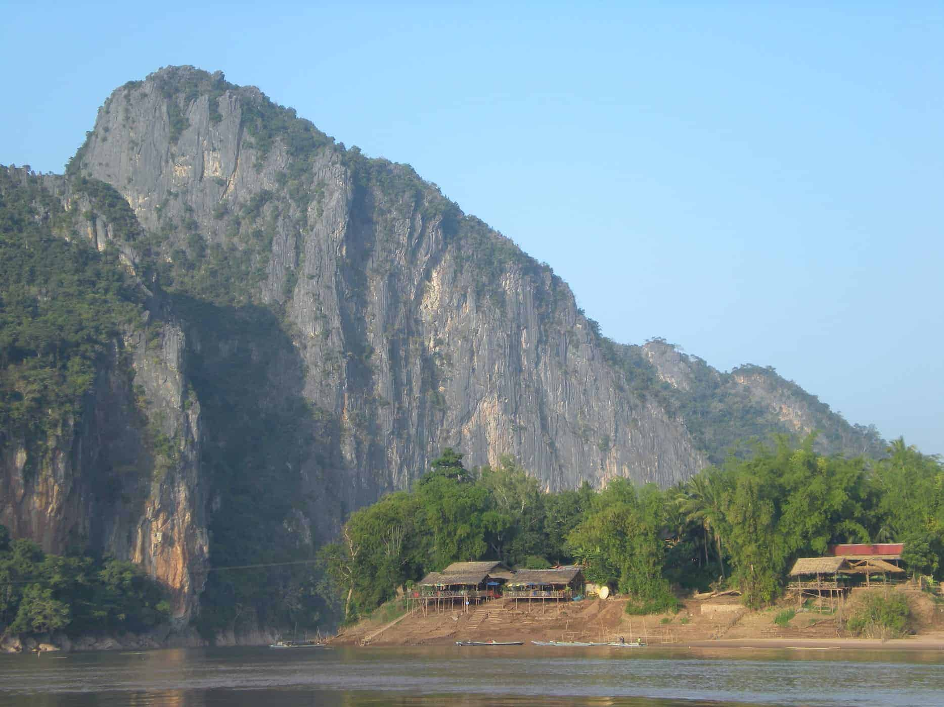 View from slow boat coming into Luang Prabang, Laos.
