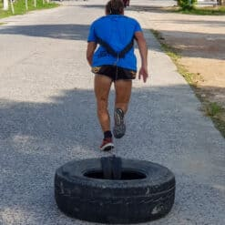 Person pulls tyre