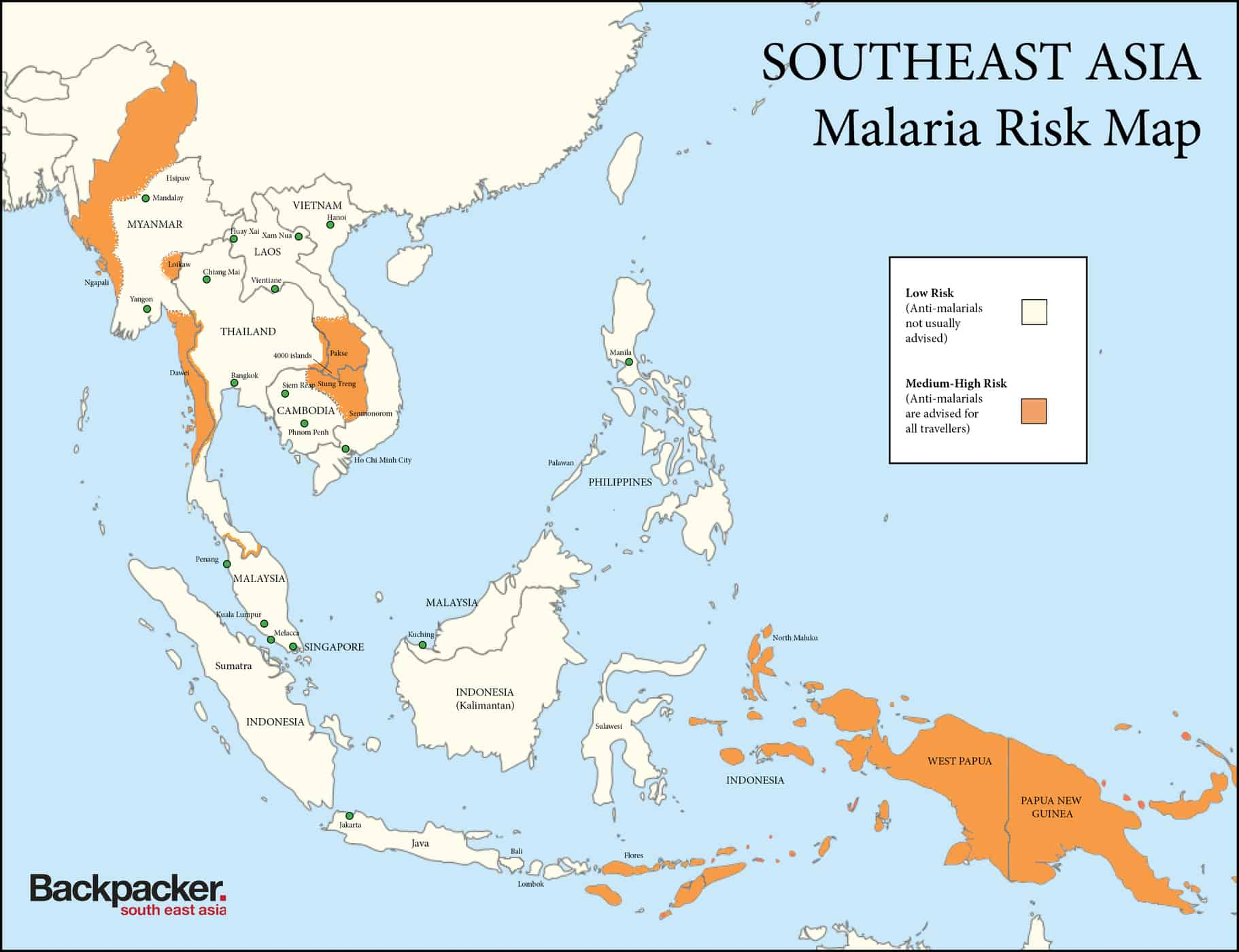 Malaria Risk Map Southeast Asia