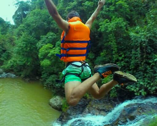 Free jump off of waterfall
