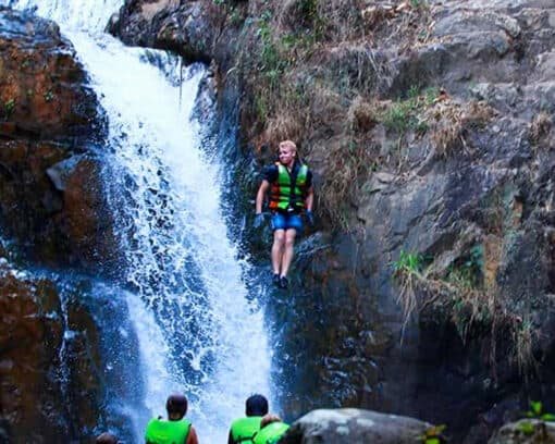 Person jumps from waterfall