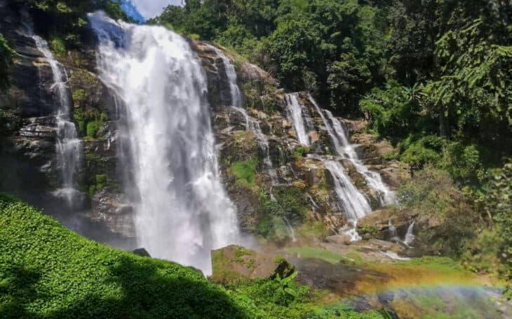 Wachirathan Waterfall with rainbow