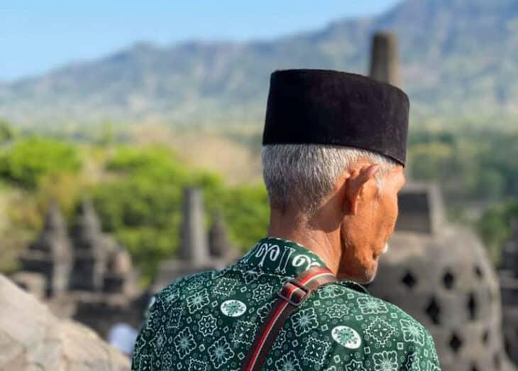 Man at Borobudur Temple.