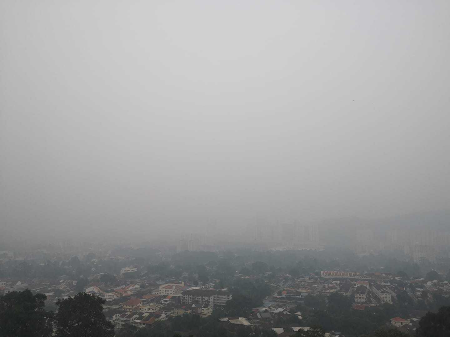 Air pollution in Georgetown, Penang, Malaysia.
