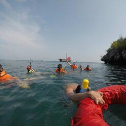 People swimming in sea.
