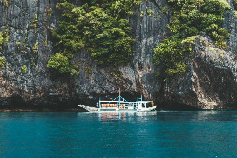Banca boat on the water in El Nido, The Philippines