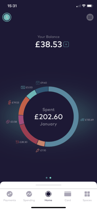Starling bank pie chart screenshot
