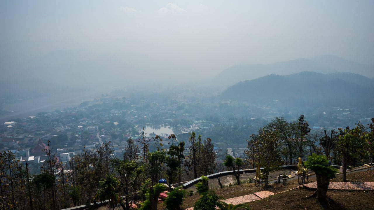 "The ""Haze"". Photo taken from Mae Hong Son Mountain Temple."
