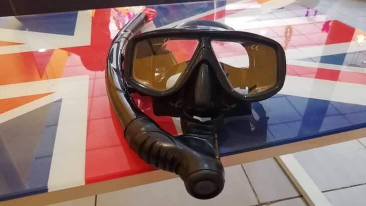 Snorkel mask on Union Jack table.