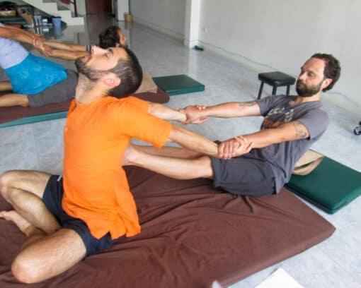 Stretching during Thai massage