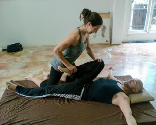 Leg stretching - Thai massage