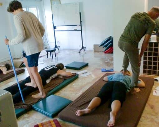 Standing Thai massage