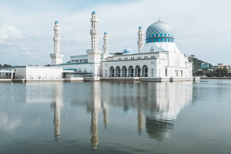 White and blue coloured mosque in the middle of a lake, Kota Kinabalu.
